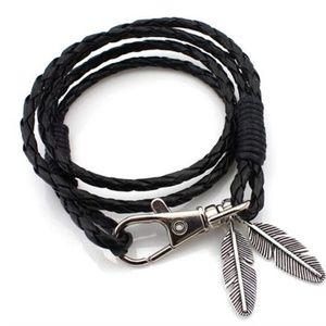 Jewelry - Feather Tassel Black Layered Leather Rope Bracelet